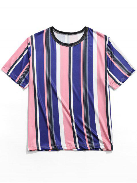Camiseta de manga corta con estampado de rayas verticales - Multicolor 2XL Mobile