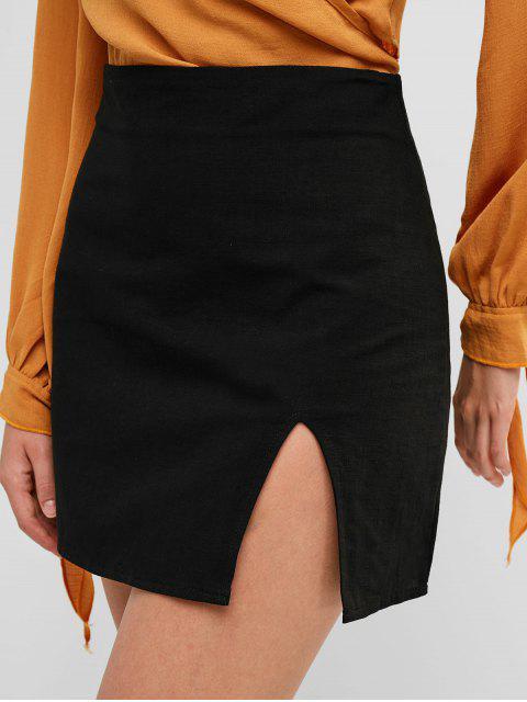 women's Slit Mini A Line Skirt - BLACK S Mobile