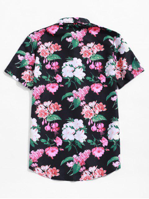 Chemise Plage d'Hawaïen Fleur Imprimée Partout à Manches Courtes - Multi 3XL Mobile