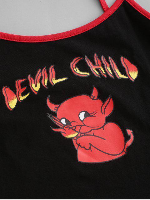 Karikatur-Teufel-Kinderernte-Wecker-Chasuble-Spitze - Schwarz M Mobile