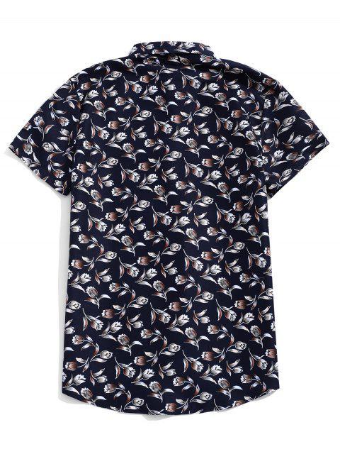 Chemise boutonnée à manches courtes à imprimé fleuri - Ardoise bleue foncée 3XL Mobile