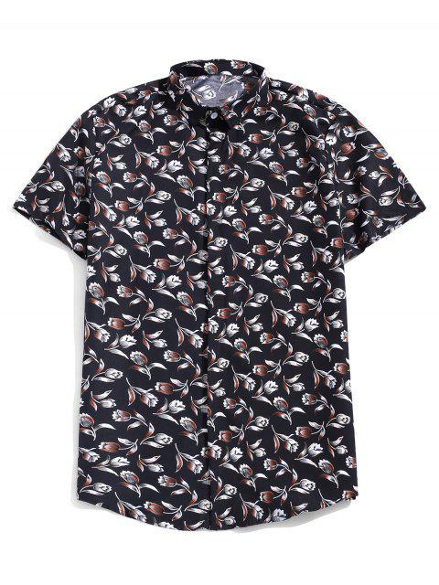 Chemise boutonnée à manches courtes à imprimé fleuri - Noir 3XL Mobile