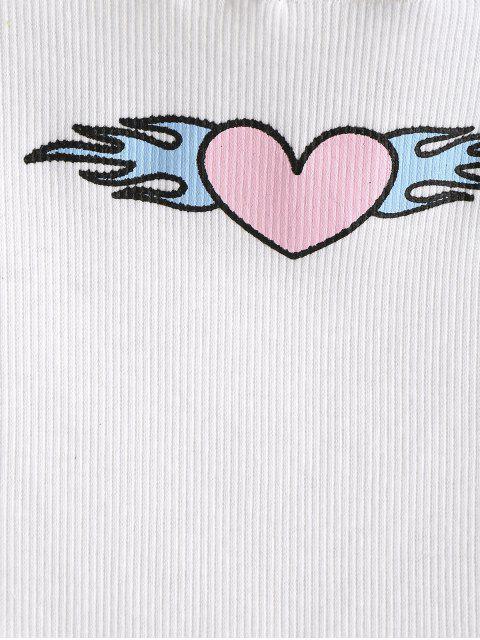 ZAFUL Débardeur court côtelé Fire Heart - Blanc XL Mobile