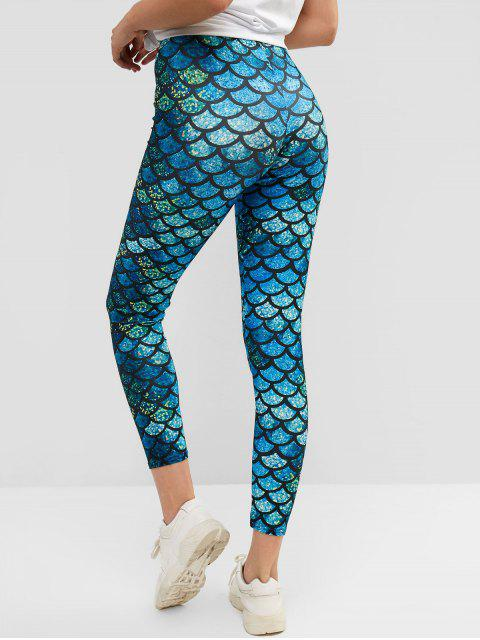 buy High Waist Multicolor Mermaid Leggings - MULTI S Mobile