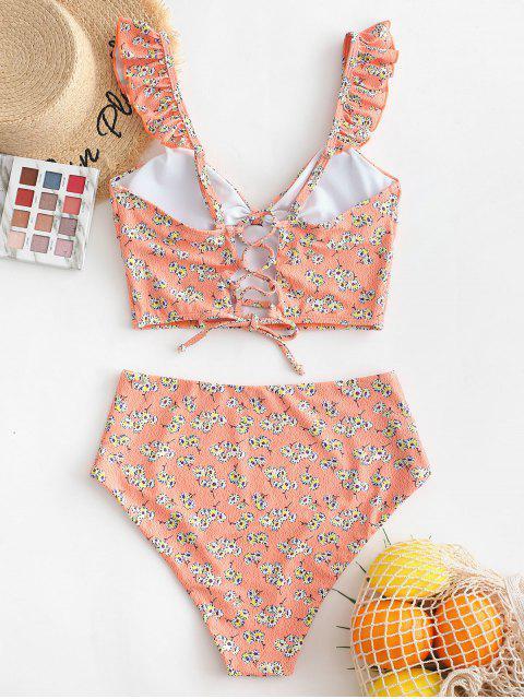 women's ZAFUL Ditsy Print Ruffle Lace Up Tankini Swimsuit - MULTI-A XL Mobile