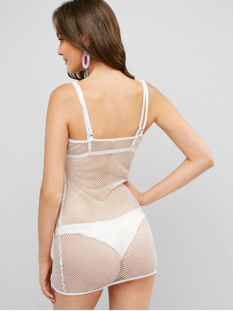 lady Cami Fishnet Bodycon Mini Dress - WHITE XL Mobile