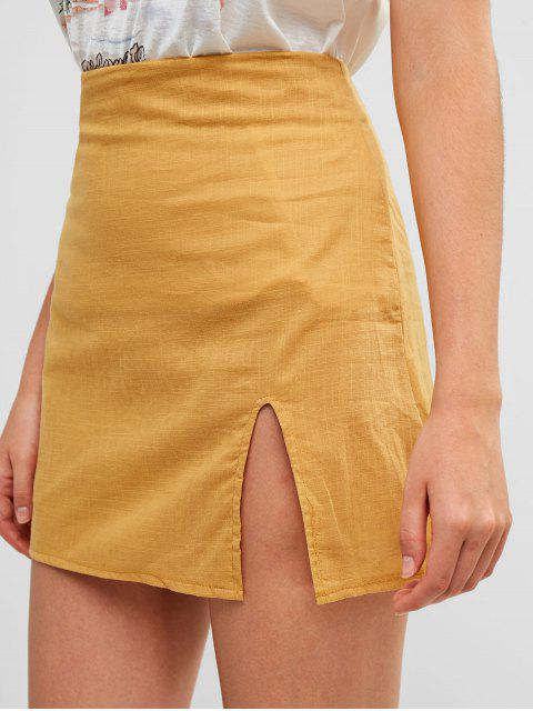 fancy Slit Mini A Line Skirt - YELLOW S Mobile