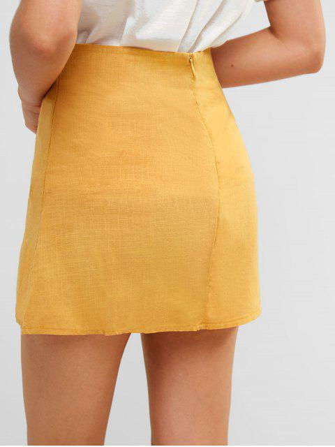 new Slit Mini A Line Skirt - YELLOW L Mobile
