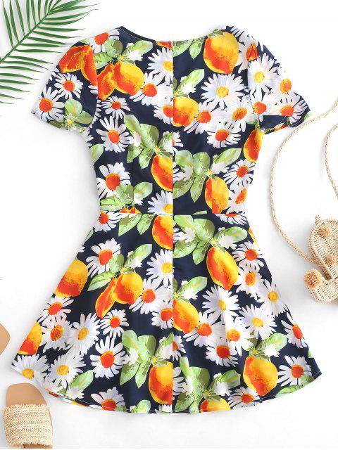 ZAFUL Flower Lemon Print Mini vestido de una línea - Multicolor L Mobile