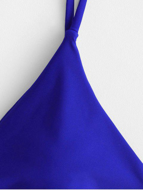 fashion ZAFUL Solid Bralette Bikini Swimsuit - COBALT BLUE M Mobile