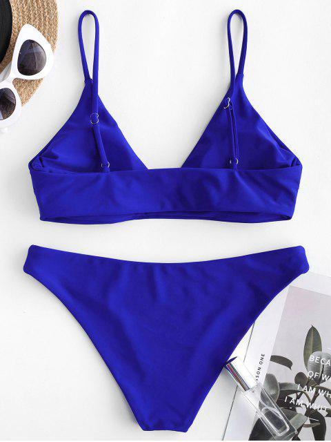 ZAFUL Maillot de Bain Bikini en Couleur Unie - Bleu Cobalt L Mobile