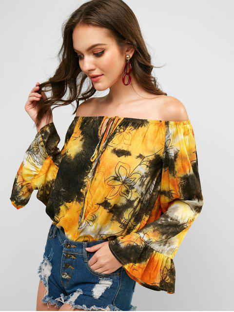new Off Shoulder Tied Floral Tie Dye Blouse - MULTI-B S Mobile