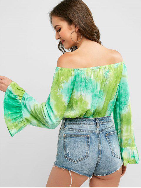 womens Off Shoulder Tied Floral Tie Dye Blouse - MULTI-A XL Mobile