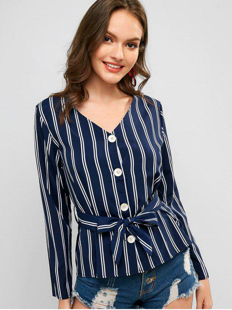 buy Belted Stripes Button Up Skirted Top - MIDNIGHT BLUE M Mobile