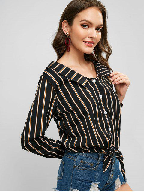 womens Tie Front Stripes Button Up Top - BLACK S Mobile