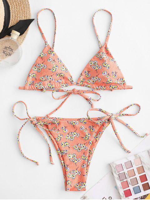 ZAFUL Maillot de Bain Bikini Matelassé Fleuri Imprimé à Corde - Multi-A M Mobile