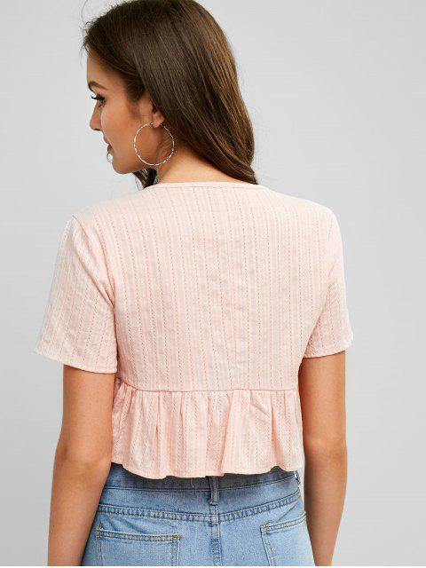 latest Ruffle Hem Tie Front Solid Crop Blouse - ROSE M Mobile