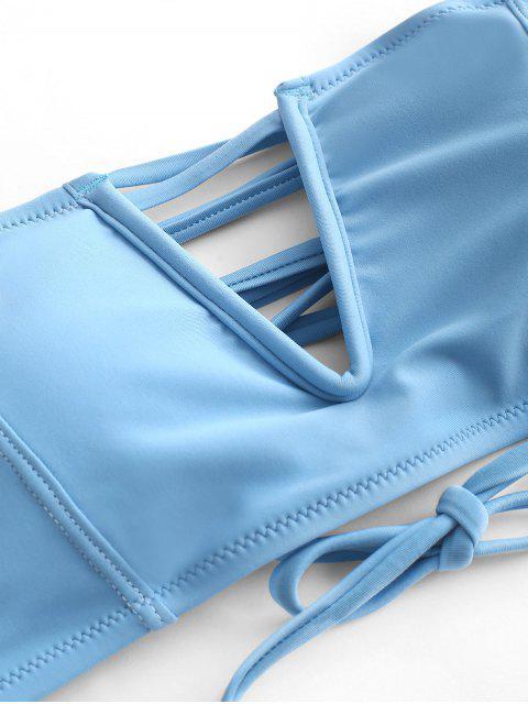 ZAFUL Maillot de Bain Bikini Bandeau à Armature en V à Lacets - Bleu de Soie S Mobile