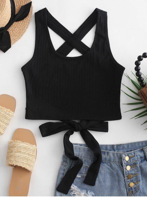 buy ZAFUL Criss Cross Tied Solid Tank Top - BLACK S Mobile