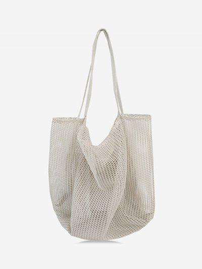 Nylon Mesh Large Capacity Shoulder Bag - Gray ...