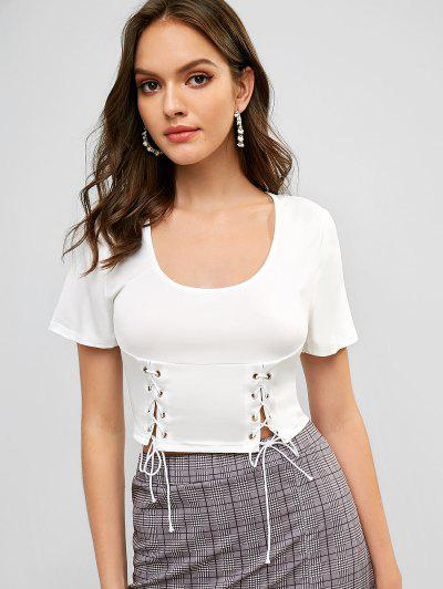 Solid Lace Up Cropped Tee