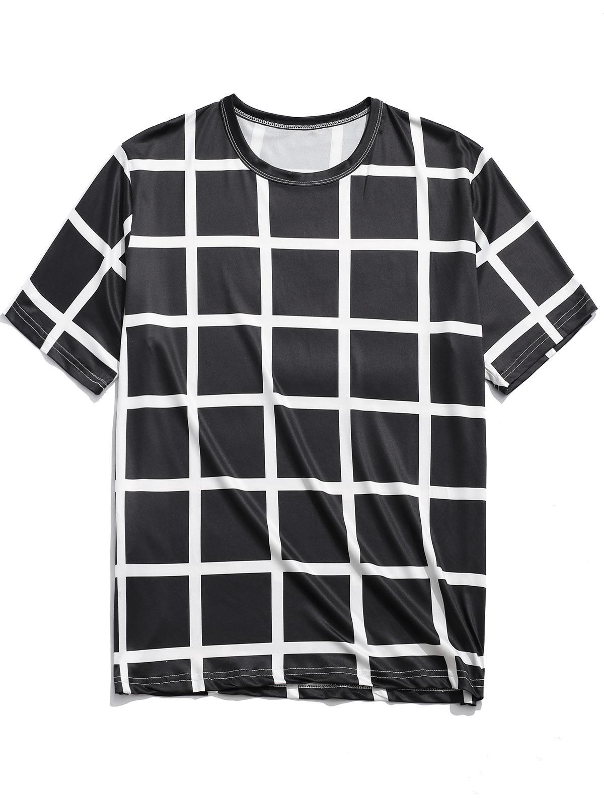 Allover Stampa Plaid Casual Manica Corta T-shirt