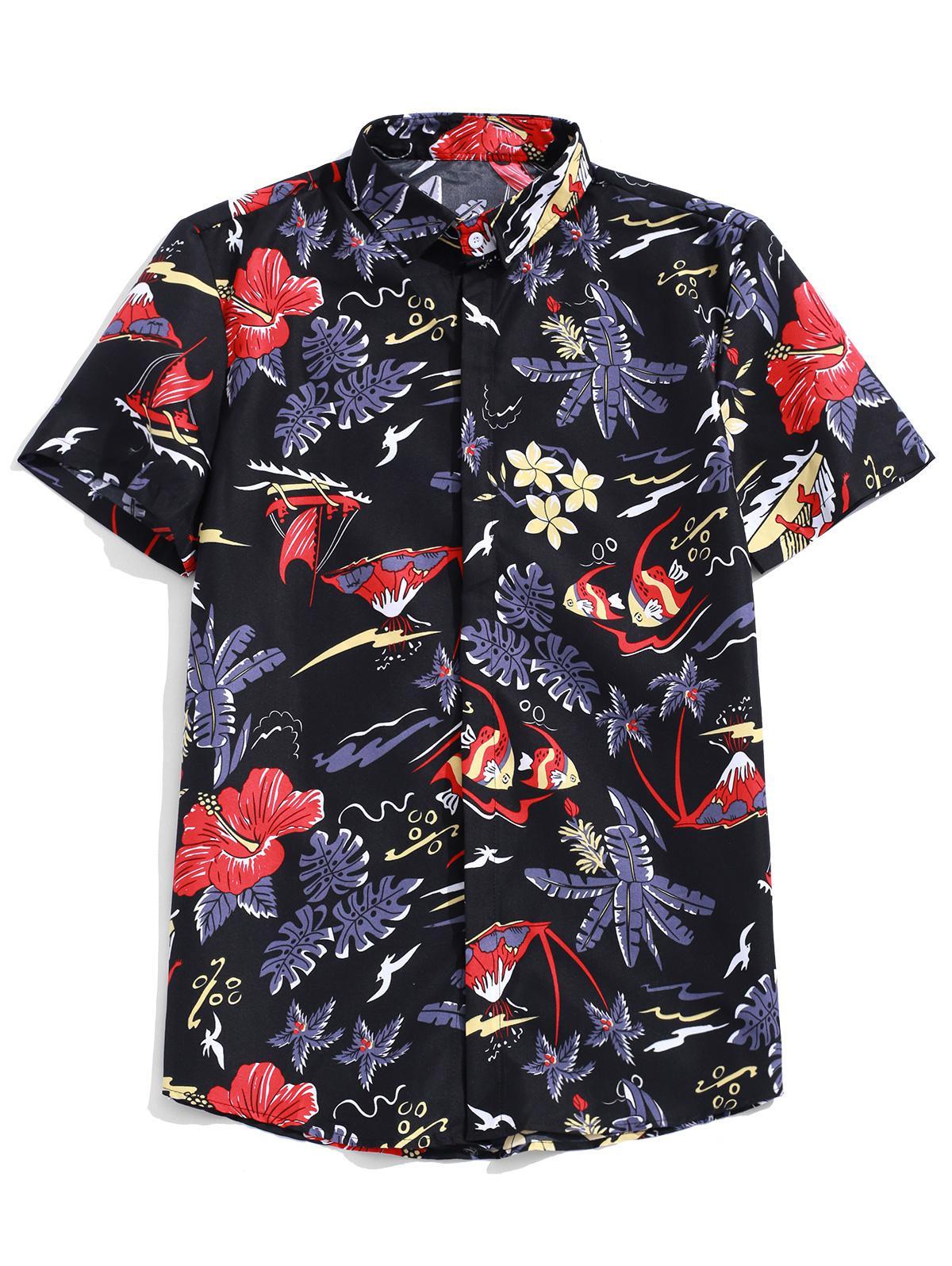 Fiore Tropicale Impianto Di Pesce Di Stampa Hawaii Spiaggia Camicia Casual