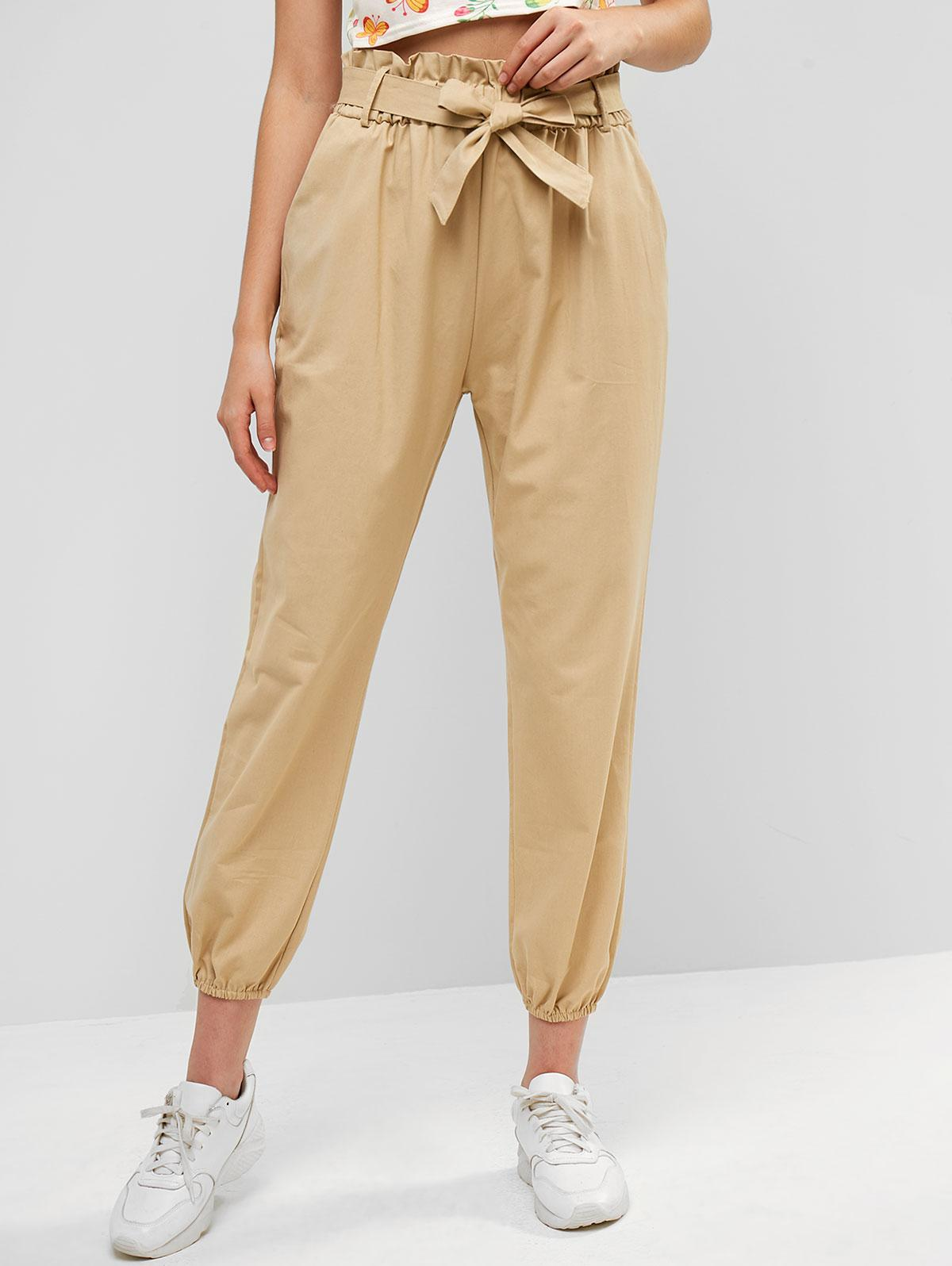 Belted Pockets Paperbag Jogger Pants