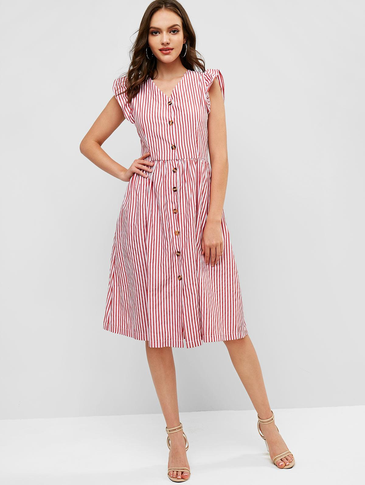 Ruffles Stripes Button Up Casual Dress, Cherry red