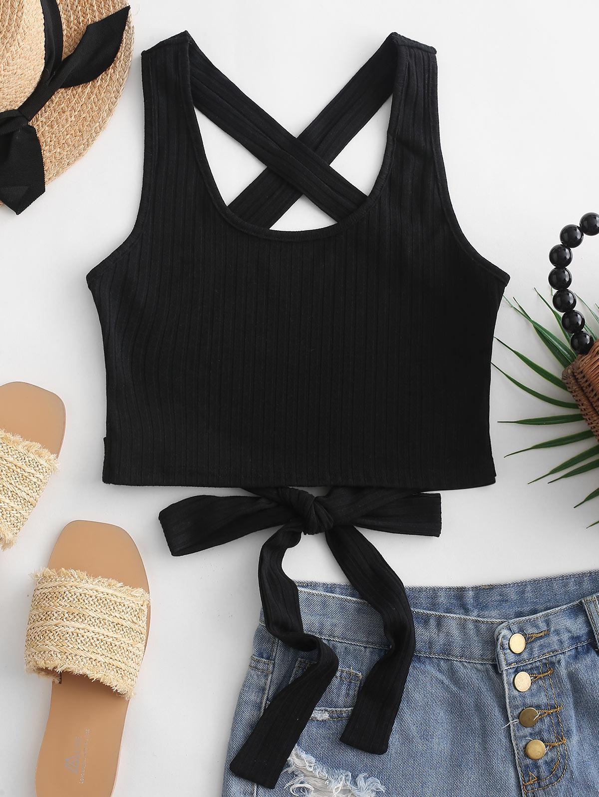 ZAFUL Criss Cross Tied Solid Tank Top