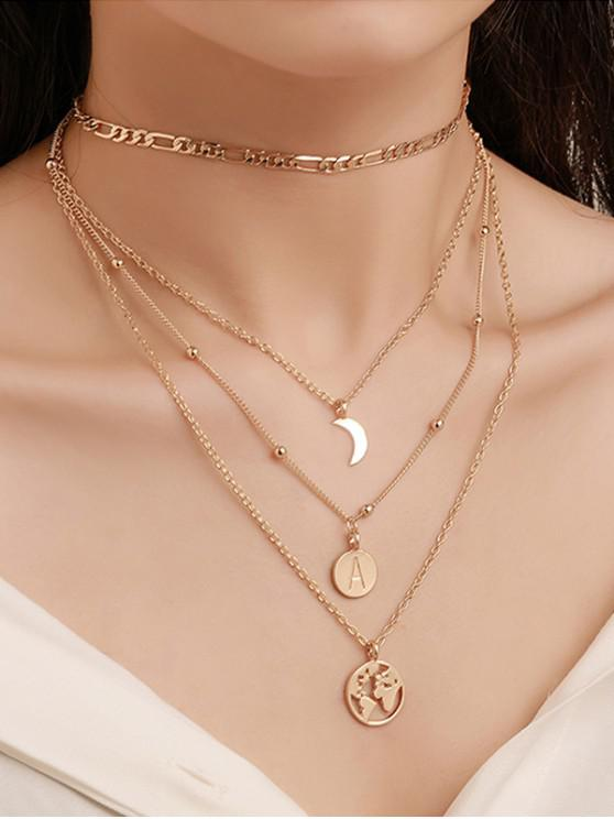 shop Round Retro Letter Map Multilayered Chain Necklace - GOLD