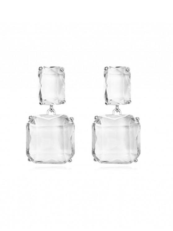 Orecchini pendenti quadrati in cristallo faux - Platino