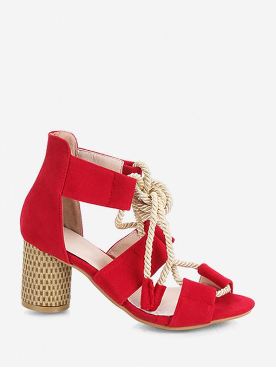 new Chunky Heel String Sandals - RED EU 39