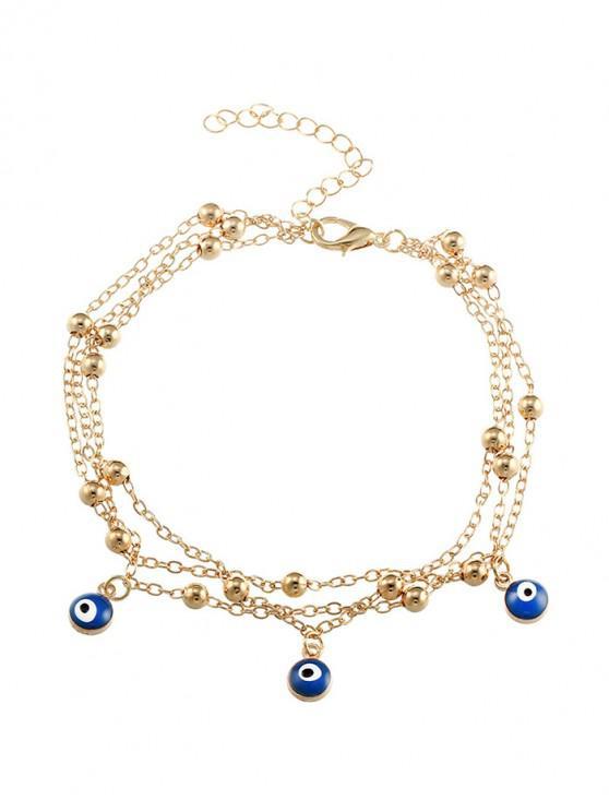 Cavigliera da spiaggia a catena con perline con charm - Oro