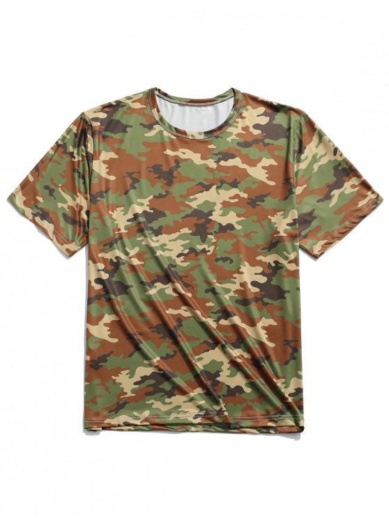 Camiseta de manga corta con cuello redondo y estampado de camuflaje - Multicolor-B XL