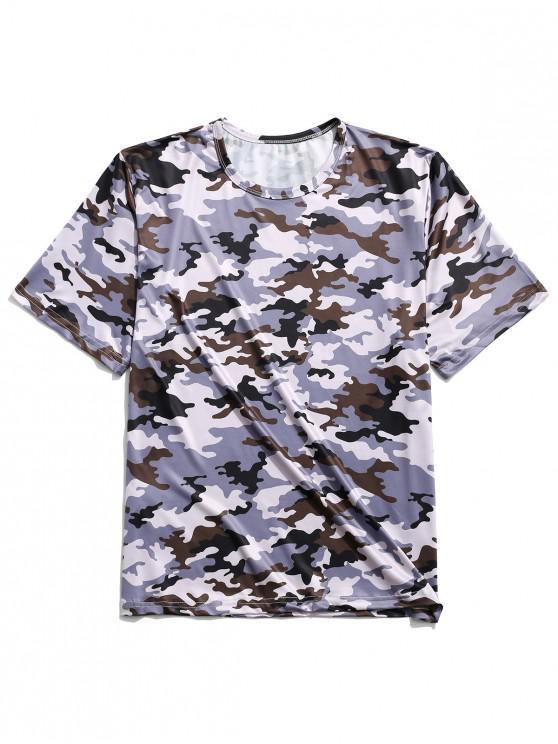 Camiseta de manga corta con cuello redondo y estampado de camuflaje - Multicolor-D XL