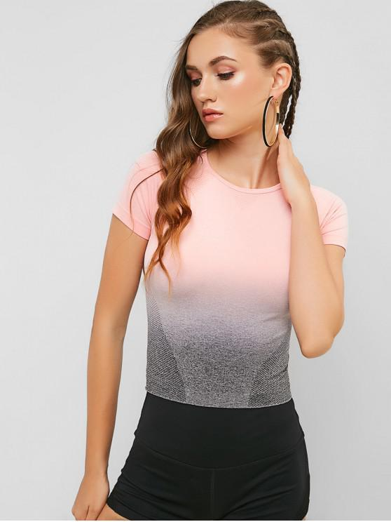 womens Ombre Space Dye Elastic Gym Tee - FLAMINGO PINK S
