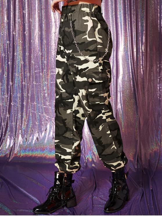 Pantaloni Jogger a catena con tasche con patta - Verde Mimetico M