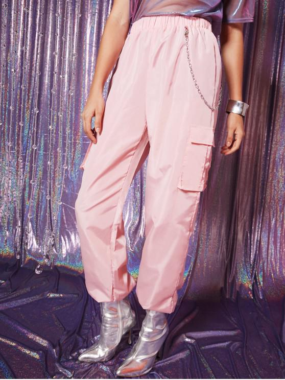 best Flap Pockets Chain Windbreaker Jogger Pants - LIPSTICK PINK S