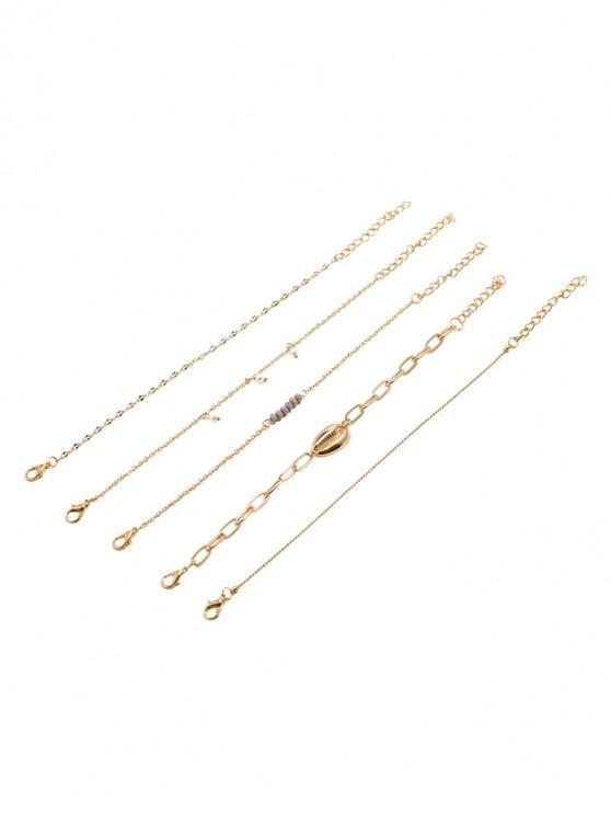 chic Seashell Beading Design Bracelets Set - GOLD