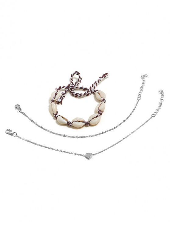 unique Seashell Heart Decoration Chain Anklets Set - SILVER