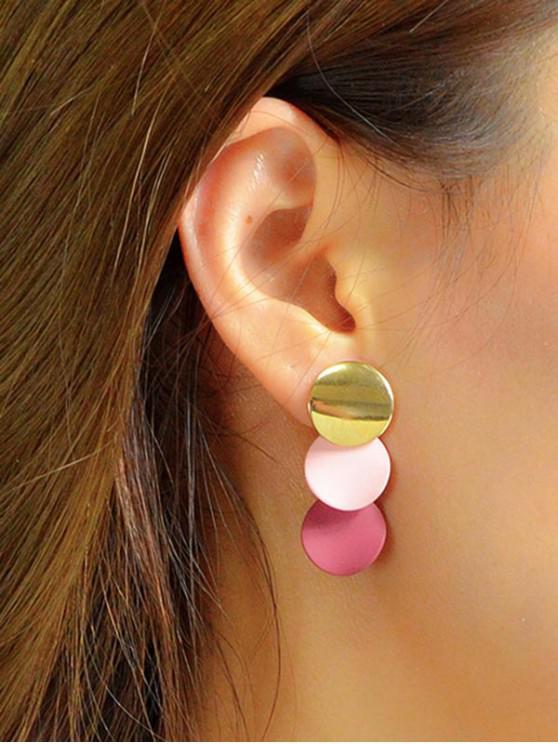 womens Hit Color Triple Round Disc Earrings - MULTI-A
