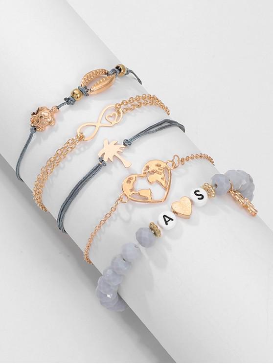 Set di 5 pezzi di cuore mappa lettera bracciale - Oro