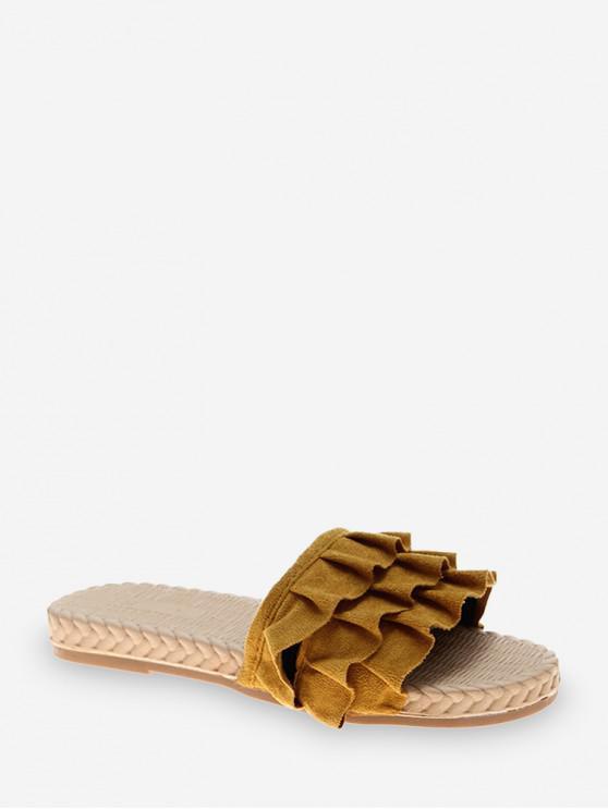 รองเท้าแตะส้นแบนดีไซน์ Ruffles - สีเหลือง EU 40