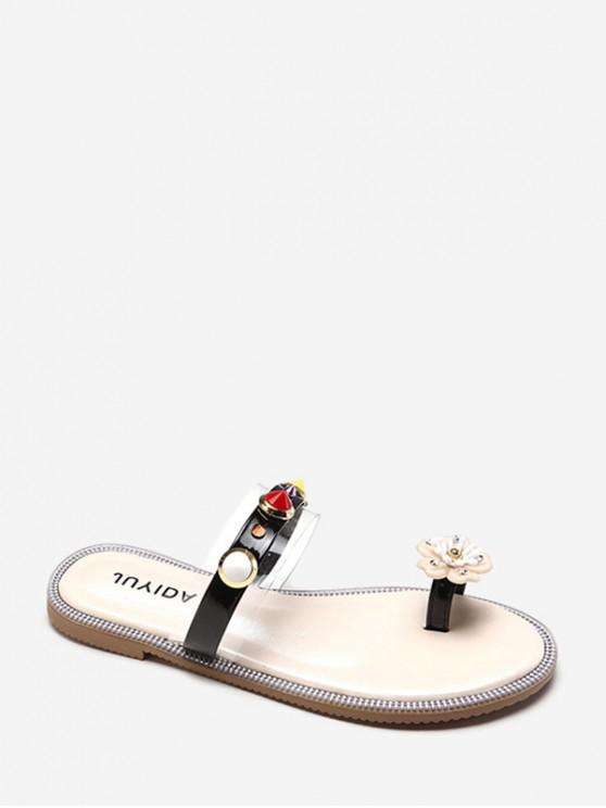 outfit Flower Toe Ring Flat Slides With Studs - BLACK EU 40