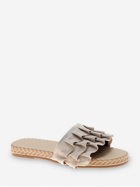รองเท้าแตะส้นแบนดีไซน์ Ruffles - ผ้าขนสัตว์สีธรรมชาติ EU 37