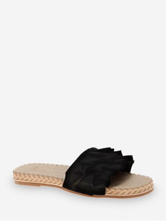 shop Ruffles Design Flat Heel Sandals - BLACK EU 38