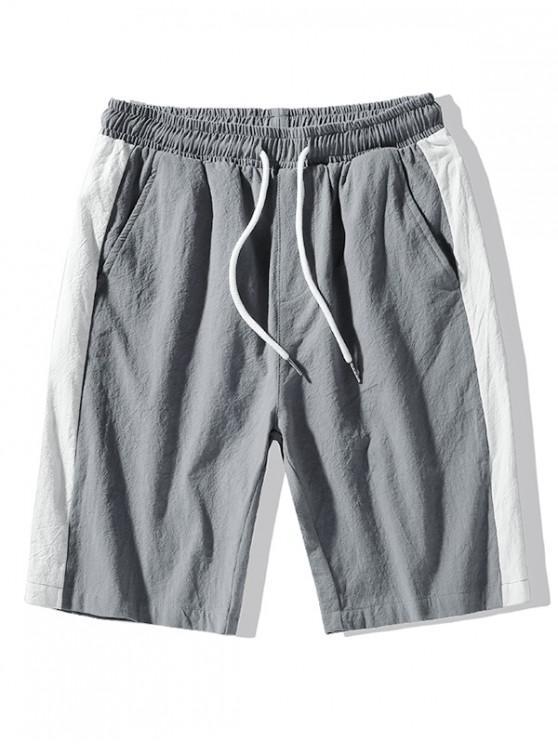 Pantaloncini da applique con cuciture a contrasto - Grigio Ardesia Leggero L