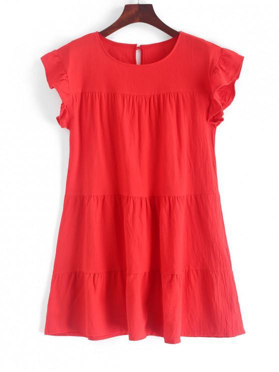 chic Round Neck Mini Solid Dress - RED M
