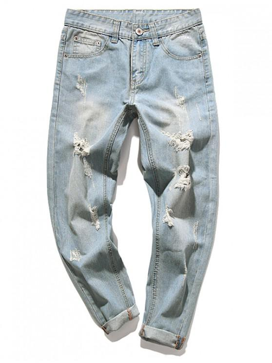 new Destroy Wash Faded Scratch Long Straight Casual Jeans - BABY BLUE 34
